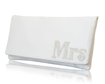 MRS wedding day bridal clutch purse serif font