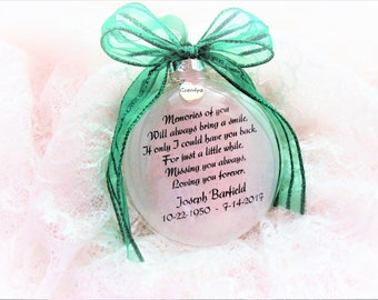 Memorial Christmas Ornament, Memories of You with a Charm