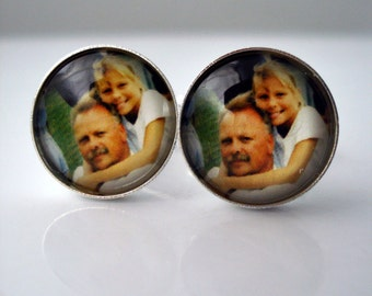 Personalized Cufflinks for Dads, Weddings, Groomsmen - Silver or Bronze, Custom Photo Cuff Links - As Seen in Town & Country Magazine