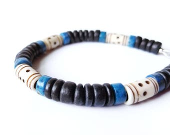Tribal men's bracelet - wood bracelet for men - Blue Morocco