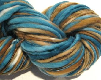 Bulky Handspun Yarn Beachcomber 108 yards hand dyed merino wool brown yarn teal yarn waldorf doll hair knitting supplies crochet supplies