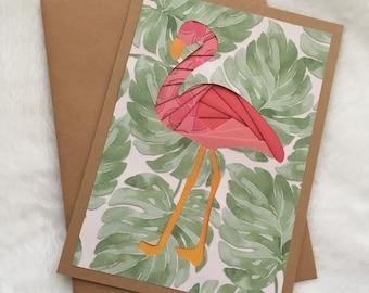 Flamingo Iris Fold Card