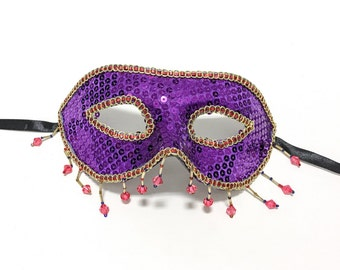 Masquerade Mask -PURPLE/RED Half Mask - Costume Party Mask