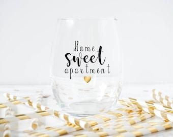 Home Sweet Apartment Wine Glass- Housewarming Gift- Housewarming Party- Apartment Warming Gift- Home Sweet Apartment -new house