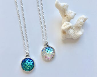 mermaid scale necklace, beach jewelry