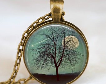 Moon and shooting star necklace teal turquoise , harvest moon necklace, shooting star wish  pendant, tree and moon jewelry