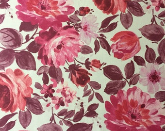 Magenta Red/Pink floral pattern cotton Fabric By The Metre