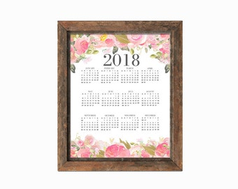 Printable One Page 2018 Calendar - 8x10   Instant Download   Floral Art   Watercolor   Digital Print
