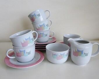 Tea set Kahla German GDR 1980s 14 piece tea cups saucers sugar bowl milk jug creamer