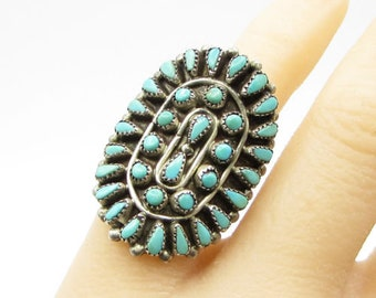 Vintage 925 sterling silver - navajo turquoise shield ring - r1059