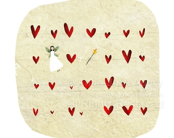 A fairy, a Wand, some Hearts... - Deluxe Edition Print - Whimsical Art