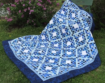 """SALE, Buy 2/Get 1 Free -- TINY BLUES, pdf quilt pattern, 66"""" X 80"""" , easily adjusted up or down in size"""