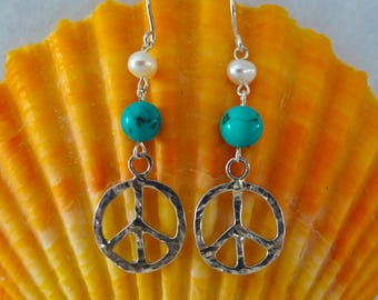 Sterling Silver Peace Sign Earrings With Genuine Turquoise And Pearl