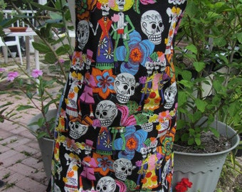 Day of the Dead Apron/Full Apron/Birthday Gift/Shower Gift/Mothers Day Gift/Apron/Adjustable apron