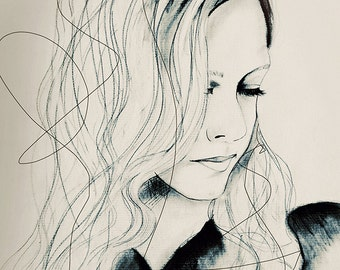 Aurora  - Fashion Illustration Art Print from Original Charcoal Drawing, Woman, Portrait, Mixed Media Art by Leigh Viner