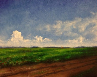 "Masterfully painted, original artwork, ""Summer"". Summertime, regal, poofy clouds, dirt road, field, beautiful, realism, Tonalism, blue."