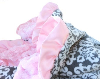 Grey and White Damask Minky Baby Blanket with Satin Ruffle Trim