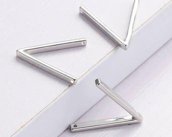 1pc Copper Connectors Findings Wishbone Silver Tone