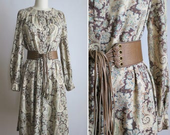 1960s long sleeve dress S ~ vintage muted paisley dress