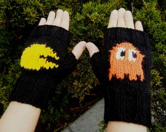 Retro Arcade Inspired Fingerless Gloves - Hand Knit Retro Gaming Gloves with Orange Ghost - Cosplay Gaming Gloves