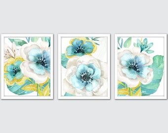 Watercolor Floral Art Prints, Mint and Yellow Floral Nursery Set of 3, Mint Flower Art Prints, Flower Girl Gift, Nursery Floral Decor