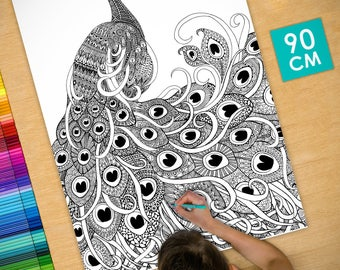 Poster / Poster deco coloring (90cm) Peacock - coloring for adults