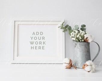 "White frame mock up - Winter floral - 8x10"" landscape - 20x25cm -  Jpeg+PSD - Eucalyptus, white wedding styled, romantic frame mock up"
