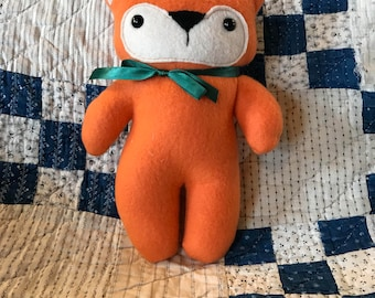 10 inch stuffed fox, fleece fox, baby gift, foxy, orange fox, stuffed fox, stuffie, plush fox, plushie