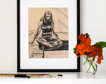 """Charcoal Drawing, Giclee, Print, Arty, Young Woman Sitting on Floor, Original Drawing, Vintage, 1970s, Aged Paper, 8"""" X 10"""" - """"Art Student"""""""