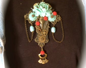 Steampunk necklace, necklace has the ancient Egypt, baroque necklace