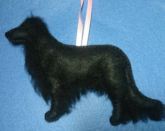 Embroidered felt Black Flat Coated Retriever/Hovawart...plushie dog, embroidered and  filled with wool from my organically certified flock