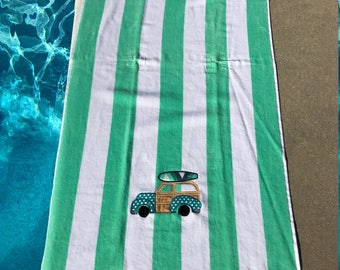 Green Striped Cabana Woodie Beach Towel/surfboard beach towel/beach towel/monogrammed beach towel/ personalized beach towel