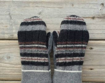 Warm wool mittens, Sweater mittens, Felted wool mittens, Cashmere lined, Repurposed felted sweater mittens