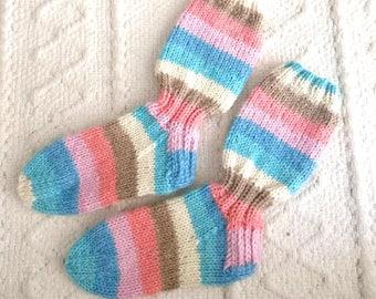 Hand knit children's stripe socks