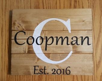 Custom Letter Last Name Established Wood Sign