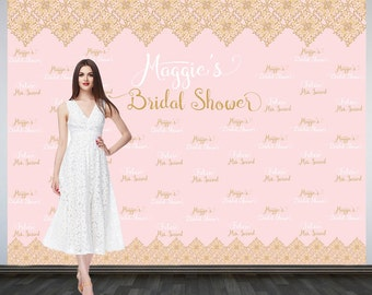 Bridal Shower Photo Backdrop, Custom Wedding Party Backdrop, Printed Personalized Wedding Backdrop, Rose Pink and Gold Photo Booth Backdrop