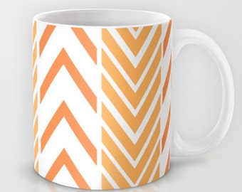Orange and White Coffee Mug  - Orange and White Arrows Mug - Coffee Cup - 11oz - 15oz - Ceramic Mug - Made to Order