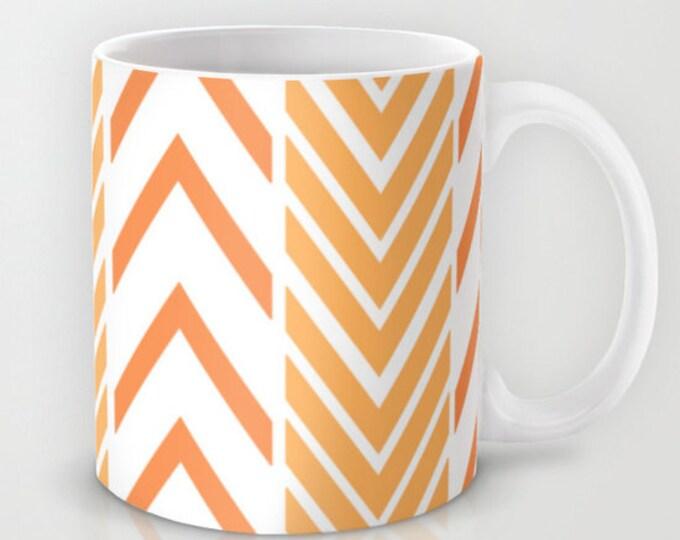 Orange and White Coffee Mug  - Orange and White Arrows Mug - Coffee Cup - 11oz - 15oz - Ceramic Mug - Made to Order