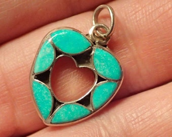 Inlay Turquoise Sterling Heart Pendant.