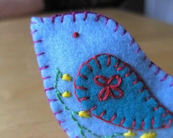 Bird Fridge magnet, hand embroidered Blue Bird Felt