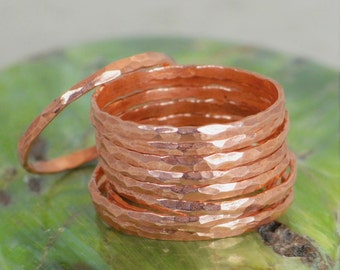Super Thin Copper Stackable Ring(s), Copper Ring, Skinny Ring, Copper Band, Pure Copper Ring, Hammered Copper Ring, Arthritis Ring, Rings