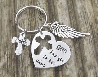 Personalized memorial keychain, god has you in his arms, I have you in my heart, angel wing, cross keychain, name keychain, bereavement gift
