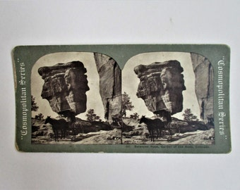 Vintage Stereoview Card #537 Balanced Rock Garden of the Gods Colorado Cosmopolitan Series E & H T Anthony Co Collectible Vintage Stereoview