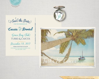 Illustrated Destination wedding map Turks & Caicos - customizable with your venue location  Save the Date Card Deposit Payment