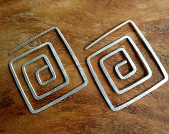 Square Spiral Silver Earrings