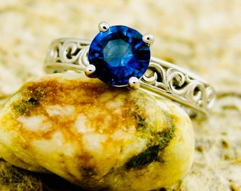 Blue Sapphire Engagement Ring in 14K White Gold with Detailed Scroll Pattern Size 6