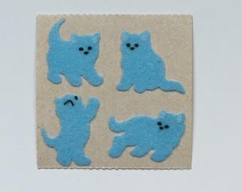 Vintage Rare Mini Sandylion Blue Fuzzy Kitten Stickers