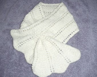 Handknit scarf from handspun angora and lambswool fiber