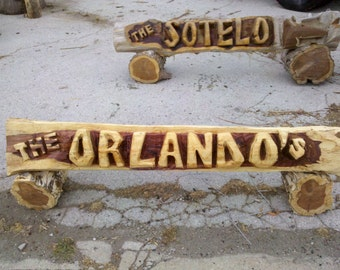 Father's Day GIFT *** 4 foot CHAINSAW Carved Name Log Sign