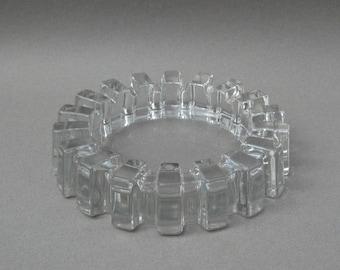 Mid Century Glass Gear Ashtray Clear Glass Sprocket Sunburst Catch All Dish Large Vintage Ashtray 7 Inch Diameter
